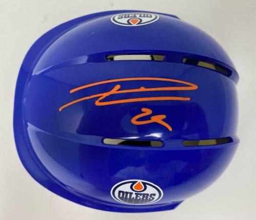 LEON DRAISAITL Autographed Edmonton Oilers Blue Mini Helmet FANATICS