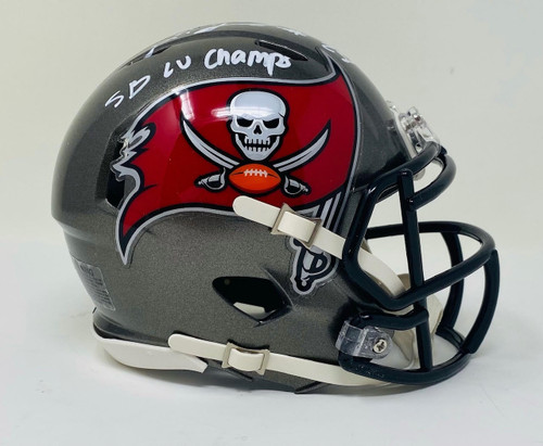 "LEONARD FOURNETTE Autographed ""SB LV Champs"" Mini Buccaneers Helmet FANATICS"