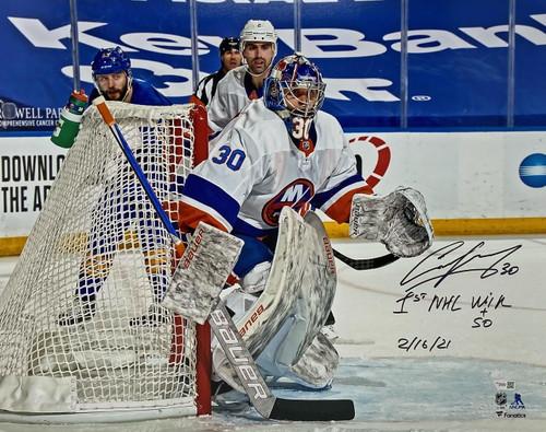 "ILYA SOROKIN Autographed ""1st NHL Win"" Islanders 16"" x 20"" Photograph FANATICS"