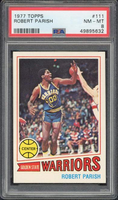 ROBERT PARISH 1977 TOPPS #111 Golden State Warriors Trading Card PSA 8