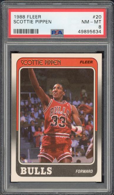 SCOTTIE PIPPEN 1988 Fleer #20 Chicago Bulls RC Trading Card PSA 8