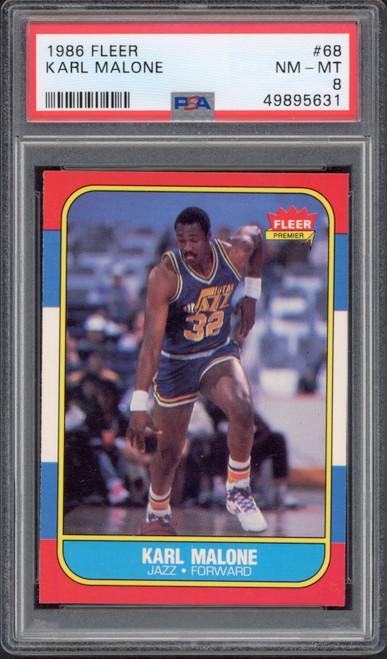 KARL MALONE 1986 Fleer #68 Utah Jazz RC Trading Card PSA 8