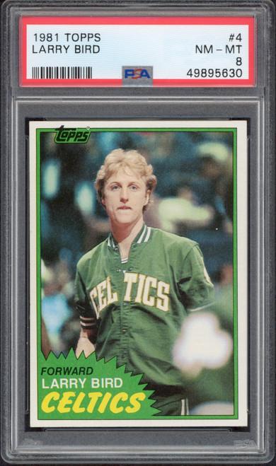 LARRY BIRD 1981 TOPPS #4 Boston Celtics Trading Card PSA 8