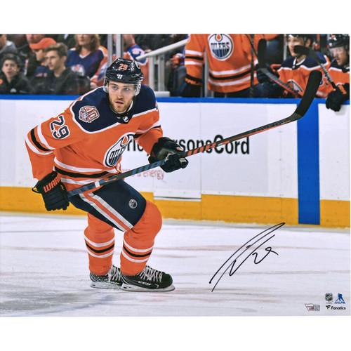 """LEON DRAISAITL Autographed Edmonton Oilers 16"""" x 20"""" Photograph FANATICS"""