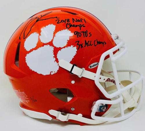 TREVOR LAWRENCE Autographed Tigers Authentic Stat Helmet FANATICS LE 1/16