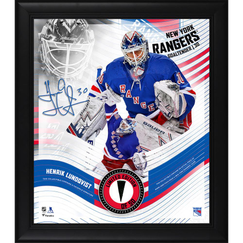 """HENRIK LUNDQVIST New York Rangers Framed 15"""" x 17"""" Game Used Puck Collage LE 50"""