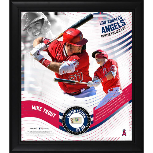 """MIKE TROUT LA Angels Framed 15"""" x 17"""" Game Used Baseball Collage LE 50"""
