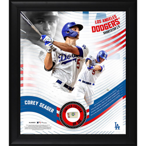 """COREY SEAGER Dodgers Framed 15"""" x 17"""" Game Used Baseball Collage LE 50"""