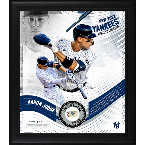 """AARON JUDGE New York Yankees Framed 15"""" x 17"""" Game Used Baseball Collage LE 50"""