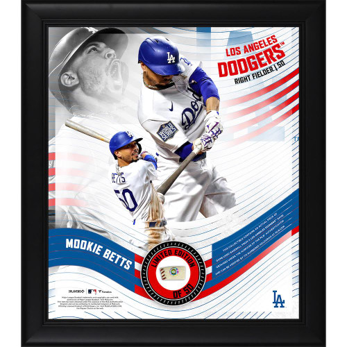 """MOOKIE BETTS Dodgers Framed 15"""" x 17"""" Game Used Baseball Collage LE 50"""