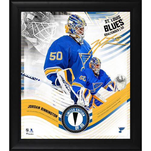 "JORDAN BINNINGTON St. Louis Blues Framed 15"" x 17"" Game Used Puck Collage LE 50"