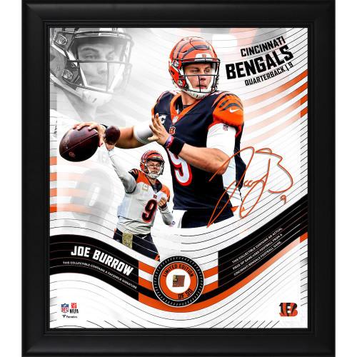 "JOE BURROW Cincinnati Bengals Framed 15"" x 17"" Game Used Football Collage LE 50"