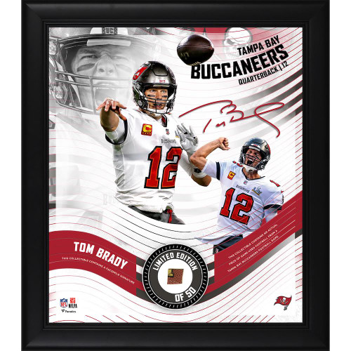 """TOM BRADY Buccaneers Framed 15"""" x 17"""" Game Used Football Collage LE 50"""