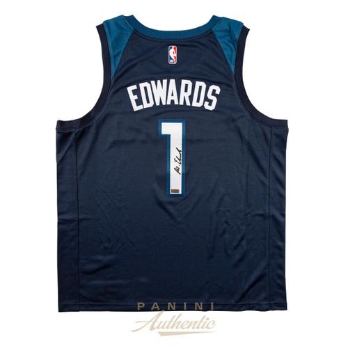 ANTHONY EDWARDS Autographed Timberwolves Navy Nike Swingman Jersey PANINI
