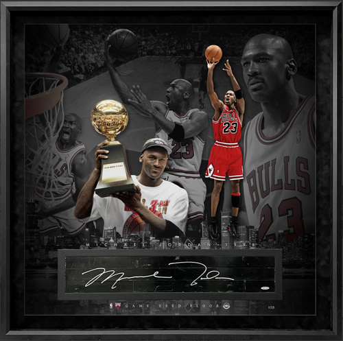 "MICHAEL JORDAN Autographed Chicago Bulls GU Floor 36"" x 36"" Display UDA LE 1/23"
