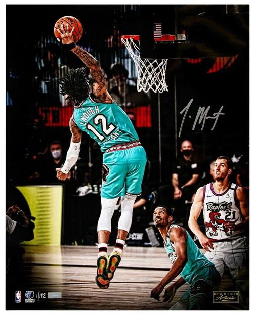 """JA MORANT Autographed Grizzlies """"Lob"""" 16"""" x 20"""" Photograph PANINI LE 112"""