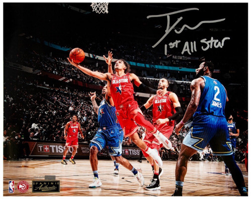 """TRAE YOUNG Autographed Inscribed """"1st All Star"""" 16"""" x 20"""" Photo PANINI LE 1/111"""