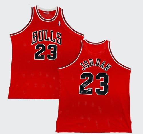 """MICHAEL JORDAN Autographed Bulls """"2009 HOF"""" Authentic Red Jersey UDA LE 18/123"""