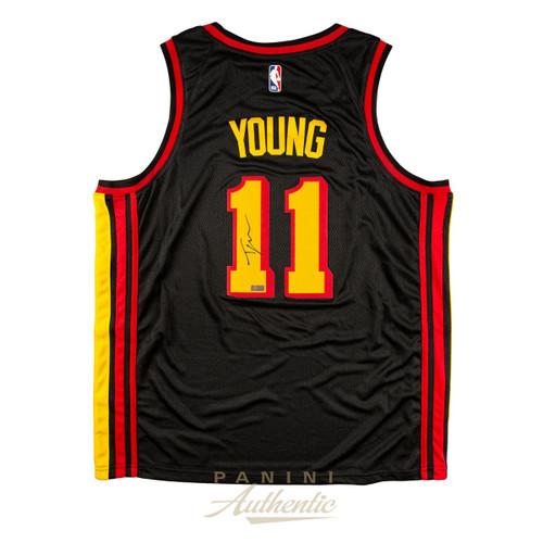TRAE YOUNG Autographed Atlanta Hawks Black Nike Swingman Jersey PANINI