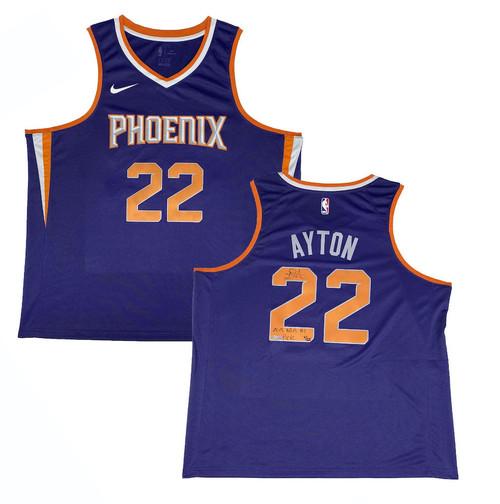 """DEANDRE AYTON Autographed Suns """"2018 NBA #1 Pick"""" Purple Swingman Jersey GDL LE 4/22"""