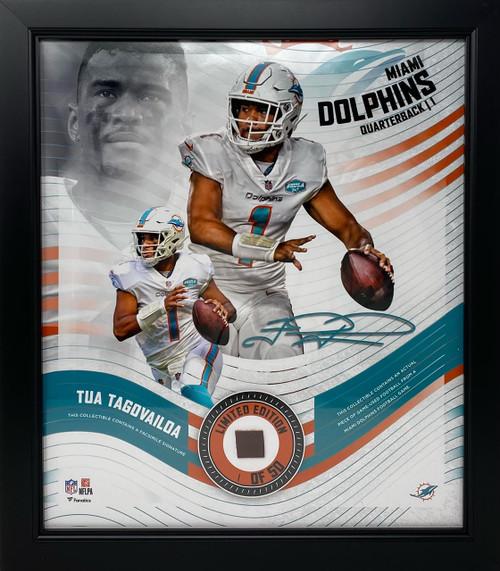 TUA TAGOVAILOA Miami Dolphins Framed 15 x 17 Game Used Football Collage LE 1/50