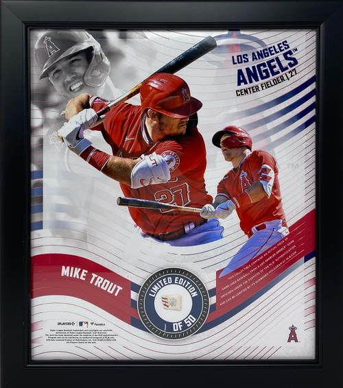 """MIKE TROUT LA Angels Framed 15"""" x 17"""" Game Used Baseball Collage LE 1/50"""
