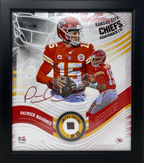 """PATRICK MAHOMES Chiefs Framed 15"""" x 17"""" Game Used Football Collage LE 1/50"""