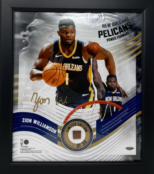 """ZION WILLIAMSON Pelicans Framed 15"""" x 17"""" Game Used Basketball Collage LE 1/50"""