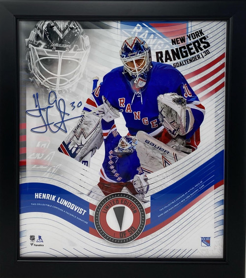 HENRIK LUNDQVIST New York Rangers Framed 15 x 17 Game Used Puck Collage LE 1/50