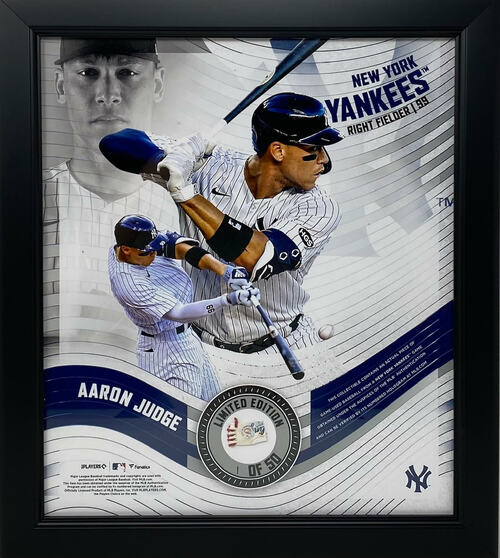 """AARON JUDGE New York Yankees Framed 15"""" x 17"""" Game Used Baseball Collage LE 1/50"""