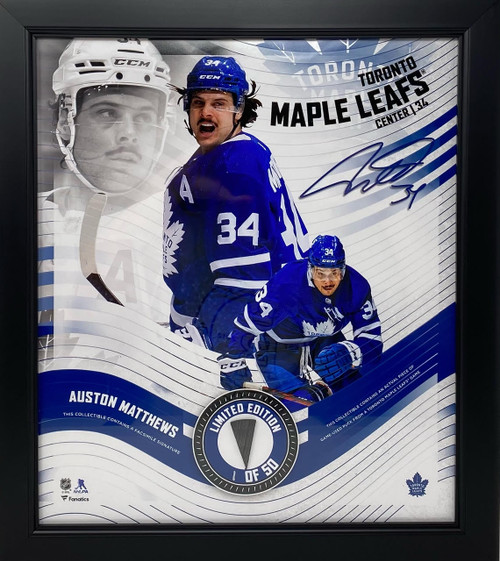 """AUSTON MATTHEWS Maple Leafs Framed 15"""" x 17"""" Game Used Puck Collage LE 1/50"""