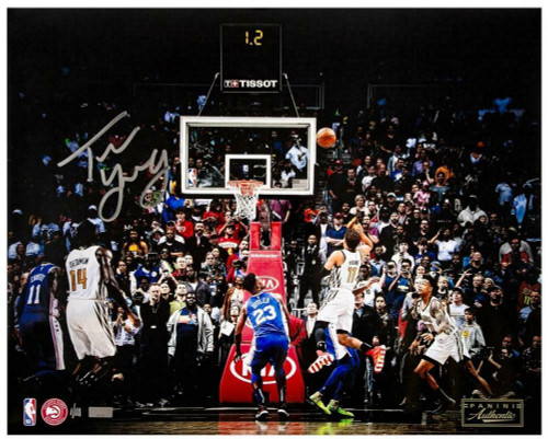 """TRAE YOUNG Autographed Hawks """"Game Winner"""" 16"""" x 20"""" Photo PANINI LE 1/111"""
