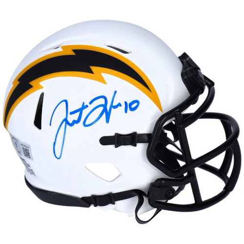 JUSTIN HERBERT Autographed Chargers Lunar Eclipse Speed Mini Helmet FANATICS