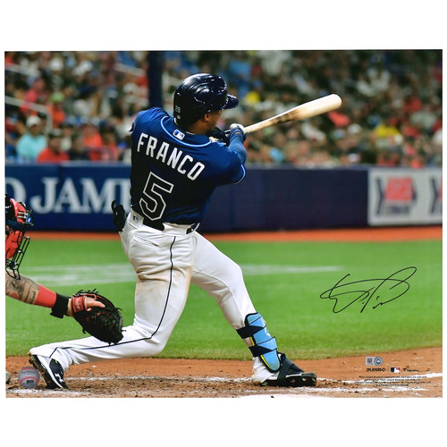 "WANDER FRANCO Autographed Tampa Bay Rays Home Run Debut 16"" x 20"" Photograph FANATICS"