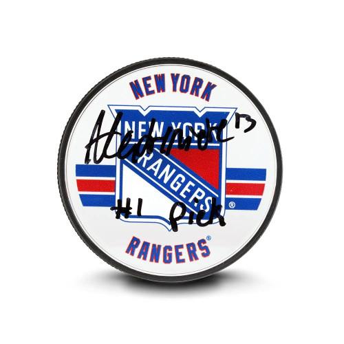 ALEXIS LAFRENIERE Autographed & Inscribed New York Rangers Acrylic Puck UDA