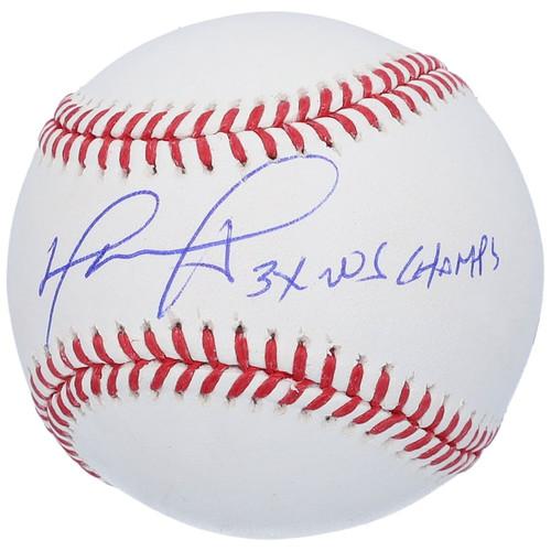 """DAVID ORTIZ Autographed """"3x Ws Champs"""" Red Sox Baseball FANATICS"""