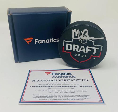 MATT BENIERS Autographed Seattle Kraken 2021 Draft Day Puck FANATICS