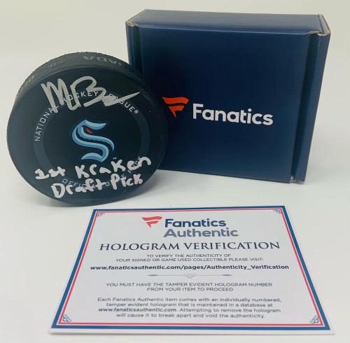 """MATT BENIERS Autographed """"1st Kraken Draft Pick"""" Official Game Puck FANATICS"""