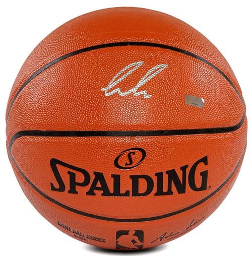 LUKA DONCIC Autographed (In Silver) Mavericks Spalding Basketball PANINI