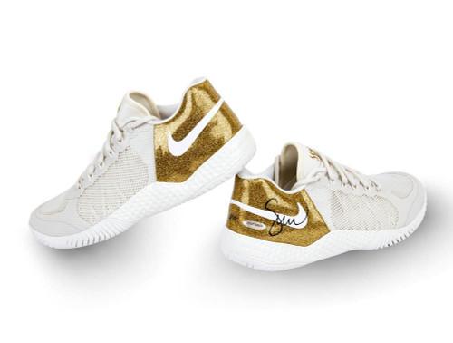 SERENA WILLIAMS Autographed NikeCourt Flare 2 Metallic Gold Shoes UDA