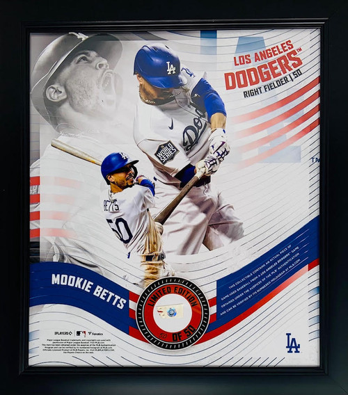 """MOOKIE BETTS Dodgers Framed 15"""" x 17"""" Game Used Baseball Collage LE 50/50"""
