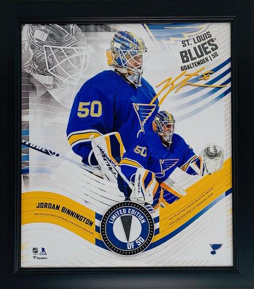 JORDAN BINNINGTON St. Louis Blues Framed 15 x 17 Game Used Puck Collage LE 50/50