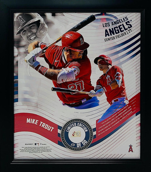 """MIKE TROUT LA Angels Framed 15"""" x 17"""" Game Used Baseball Collage LE 50/50"""