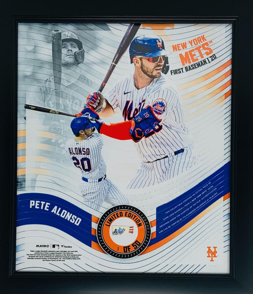 """PETE ALONSO New York Mets Framed 15"""" x 17"""" Game Used Baseball Collage LE 1/50"""
