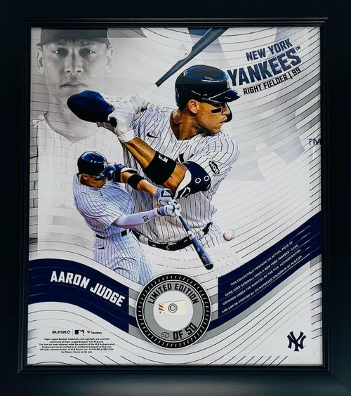 AARON JUDGE New York Yankees Framed 15 x 17 Game Used Baseball Collage LE 50/50