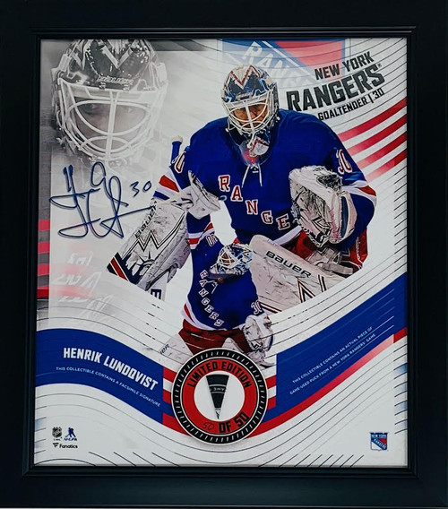 HENRIK LUNDQVIST New York Rangers Framed 15 x 17 Game Used Puck Collage LE 50/50