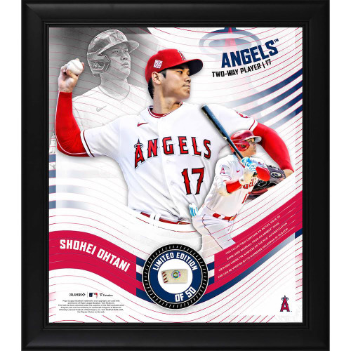 """SHOHEI OHTANI L.A. Angels Framed 15"""" x 17"""" Game Used Baseball Collage LE 50"""