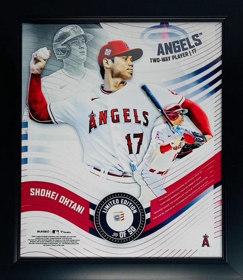 """SHOHEI OHTANI L.A. Angels Framed 15"""" x 17"""" Game Used Baseball Collage LE 50/50"""