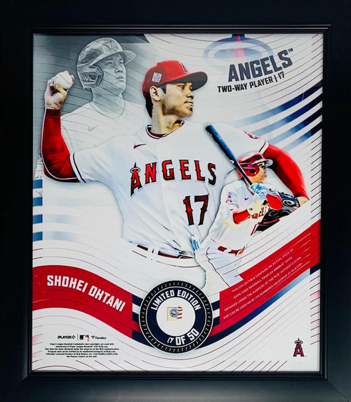 """SHOHEI OHTANI L.A. Angels Framed 15"""" x 17"""" Game Used Baseball Collage LE 17/50"""