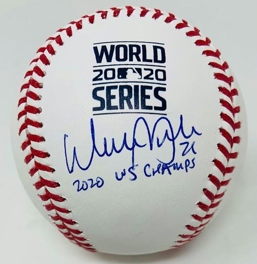 "WALKER BUEHLER Autographed ""2020 WS Champs"" World Series Baseball FANATICS"